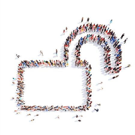 Large group of people in the form of  lock. Isolated, white background. photo