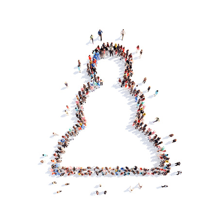 Large group of people in the form of a pawn. Isolated, white background. photo