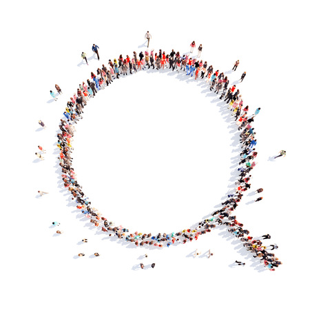 magnify: Large group of people in the form of a magnifying glass. Flashmob, isolated, white background.