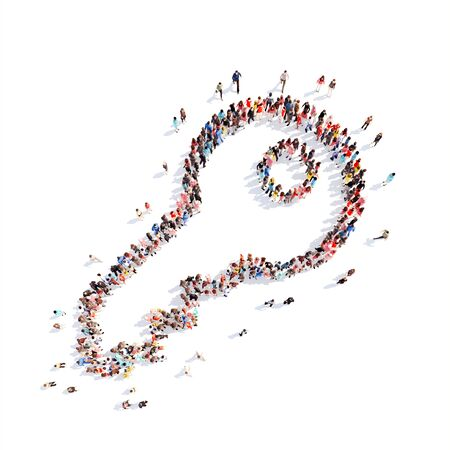Large group of people in the form of a key. Isolated, white background. photo