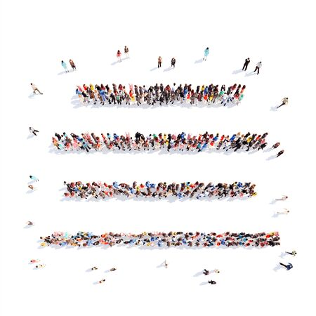 Large group of people in the form of strings. Isolated, white background. photo