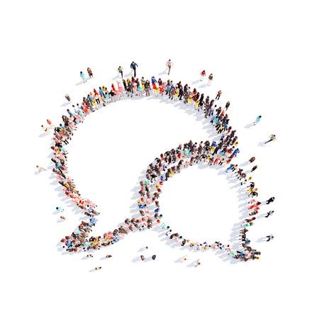 Grote groep mensen in de vorm van een praatje bubble.White achtergrond Stockfoto