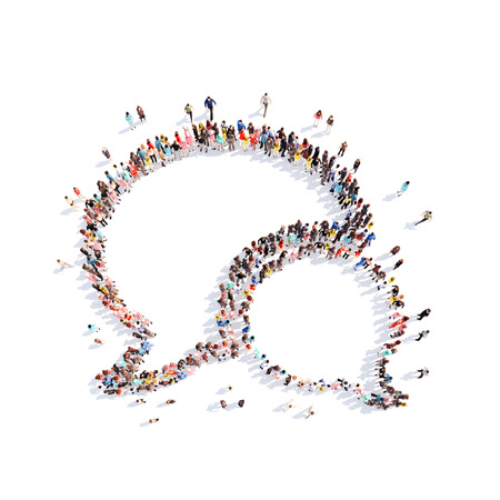 chat group: Large group of people in the shape of a chat bubble.White background Stock Photo