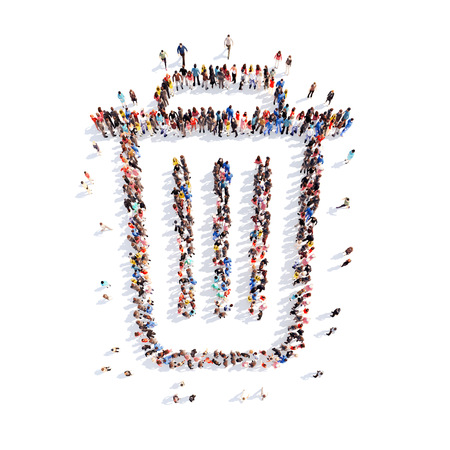 waste basket: Large group of people in the form of the trash. Isolated, white background.
