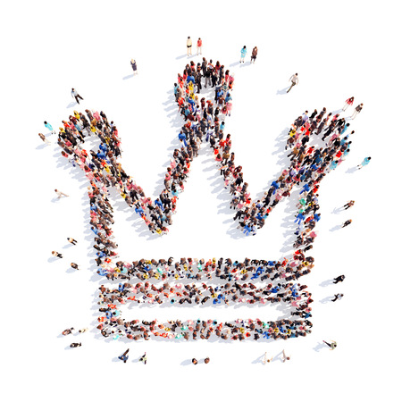 A large group of people in the shape of a crown. Isolated, white background. photo