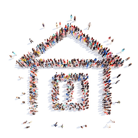 A large group of people in the shape of a house. White background.
