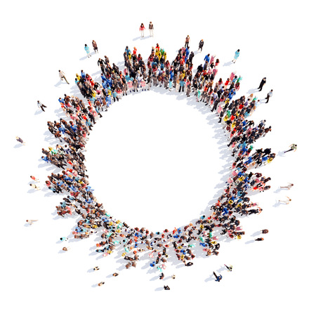 Large group of people in the form of gears. Isolated, white background. Banque d'images