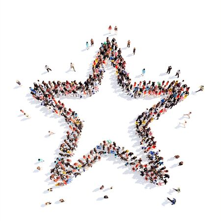 gold rush: A large group of people in the shape of a star. Isolated, white background.