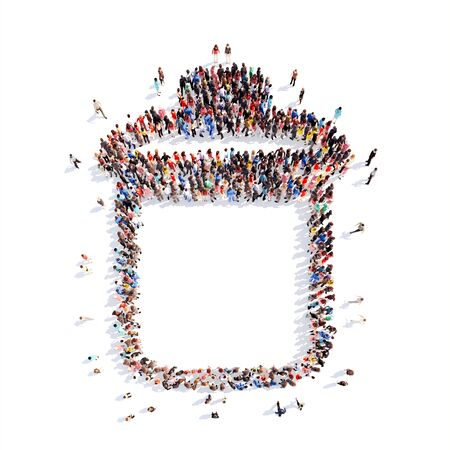 waste basket: A large group of people in the form of garbage can. Isolated, white background.