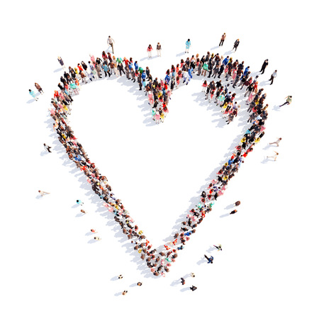 friend chart: Large group of people in the form of hearts, love. Isolated, white background.