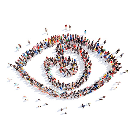 A large group of people in the form of the eye. Isolated, white background. photo