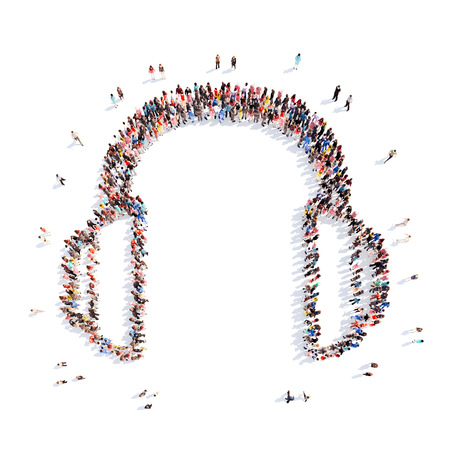 handsfree: A large group of people representing the headphones. Isolated, white background. Stock Photo