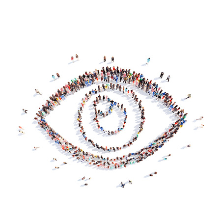 indian student: A large group of people representing the eye. Isolated, white background.