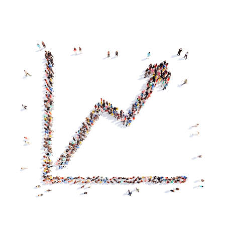 capitalism: A large group of people in the form of a graph. Isolated, white background.