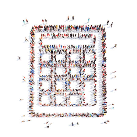 high damage: A large group of people in the shape of a calculator. Isolated, white background. Stock Photo