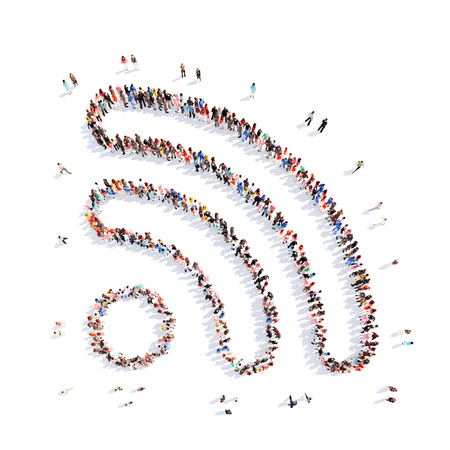 A large group of men in the shape wi fi. Isolated, white background.