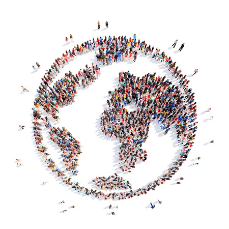peace symbols: A large group of people in the form of planet earth. Isolated, white background. Stock Photo