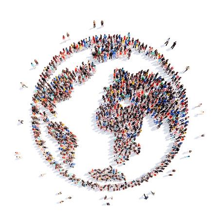mundo manos: Un gran grupo de personas en forma de planeta tierra. Aislado, fondo blanco. Foto de archivo