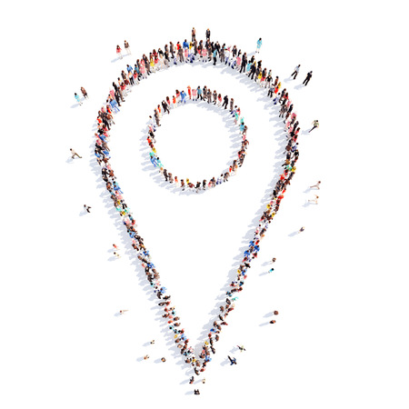 adress: Large group of people in the form of a map pointer. White background. Stock Photo