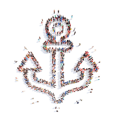 seamaid: A large group of people in the shape of an anchor. Isolated, white background. Stock Photo