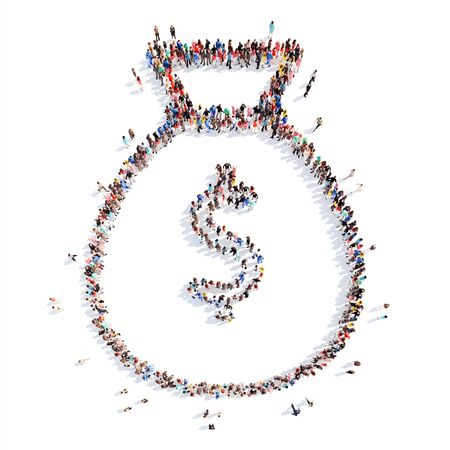 dollar bag: A large group of people in the shape of a dollar bag. Isolated, white background.