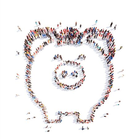piggy bank money: A large group of people in the shape of piggy bank. Isolated, white background. Stock Photo
