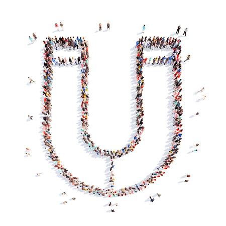 manos unidas: Un gran grupo de personas en la forma de un im�n. Aislado, fondo blanco.