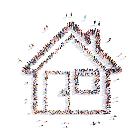 A large group of people in the shape of a house. Isolated, white background. photo