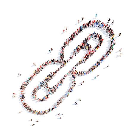manos unidas: Un gran grupo de personas en la forma de una cadena. Aislado, fondo blanco. Foto de archivo