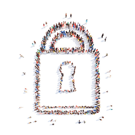 Large group of people in the shape of locks. White background. photo