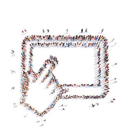 A large group of people in the shape of a tablet with the cursor. Isolated, white background.