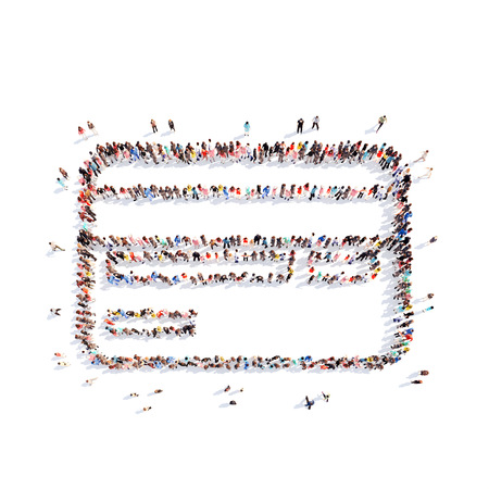credit crunch: A large group of people in the shape of a credit card. Isolated, white background.