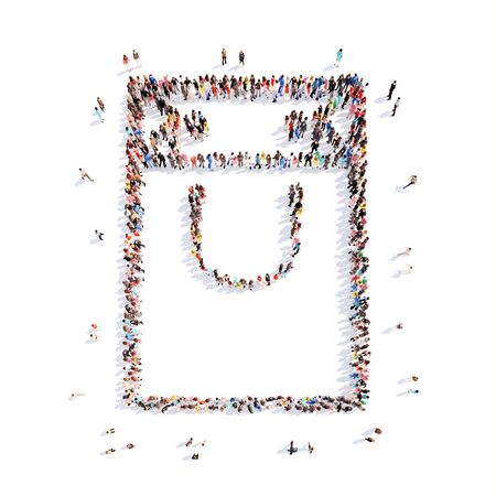 Large group of people in the form of a paper bag, Isolated, white background.