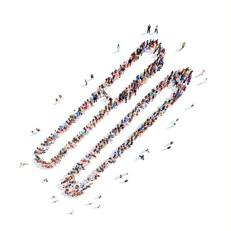uniformity: A large group of people in the shape of pen. Isolated, white background. Stock Photo