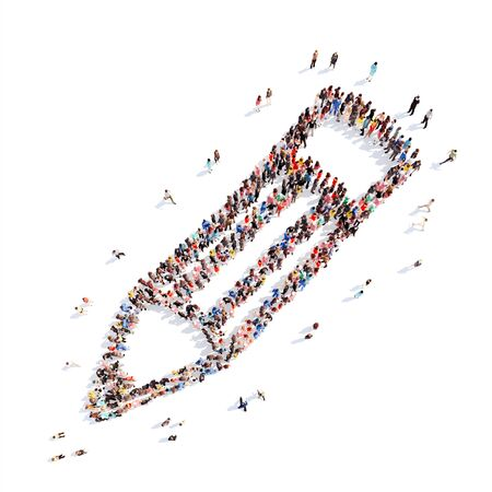 A large group of people in the shape of a pencil. White background. photo