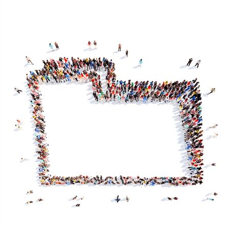 A large group of people representing the folder. Isolated, white background. photo