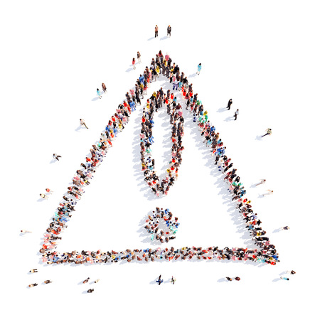 A large group of people in the shape of an exclamation mark, attention. Isolated. White background. photo