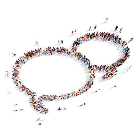 Large group of people in the shape of a chat bubble. White background