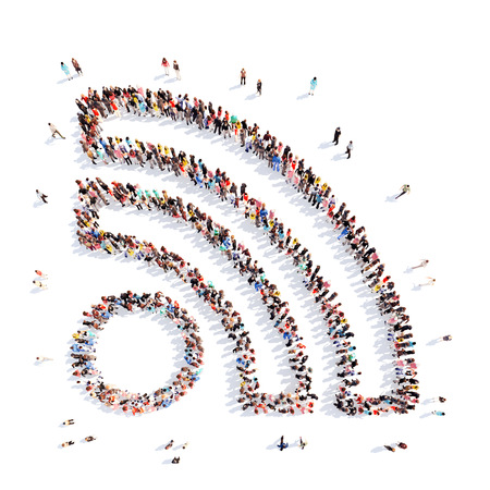 Large group of people in the shape of a Wi Fi. Isolated, white background.
