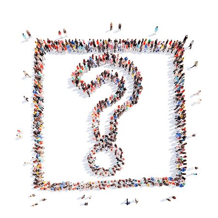 marks: A large group of people in the shape of a question mark. Isolated. White background. Stock Photo