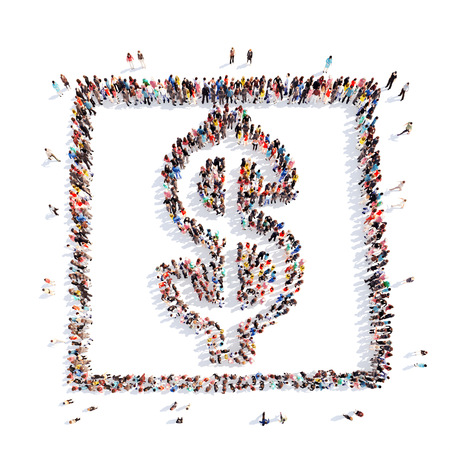 A large group of people in the form of money sign Dollar. Isolated. White background.