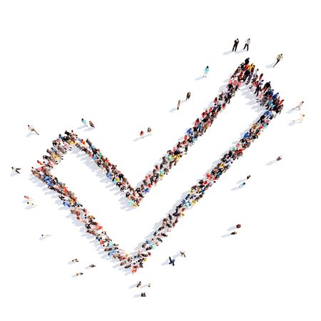 A large group of people in the shape of Check Mark . Isolated, white background. Imagens