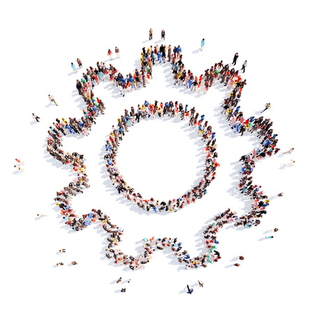 A large group of people in the shape of gears . Isolated, white background.
