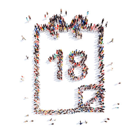 A large group of people in the shape of a calendar. Isolated, white background. photo