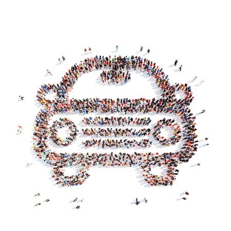 A large group of people in the shape of car. Isolated, white background. photo