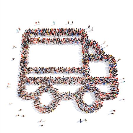 A large group of people in the shape of a truck. Isolated, white background. photo