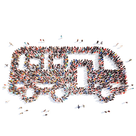 A large group of people in the shape of a bus. Isolated, white background. photo