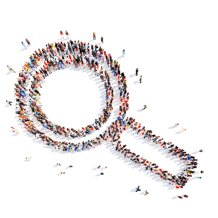 magnify: A large group of people in the shape of a magnifying glass. Isolated, white background.
