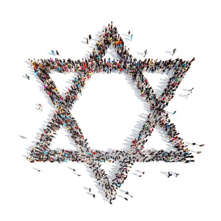 jewish star: A large group of people in the form of a Jewish star. Isolated, white background.
