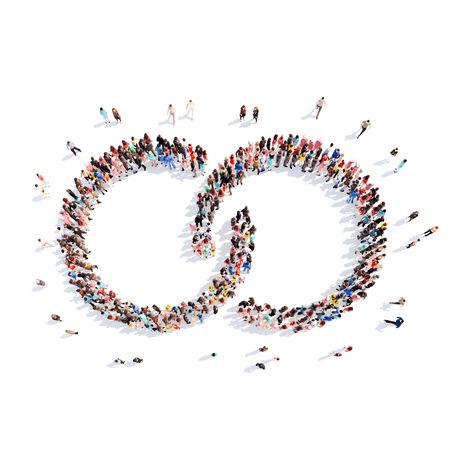 チェーンの形をした人々 の大規模なグループ。分離、白背景。